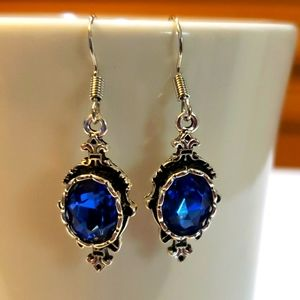 Vintage Fashion Sapphire Gem Dangle Earrings